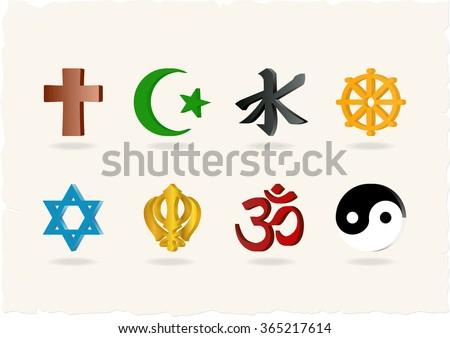 Religion Icons. Vector illustration - stock vector