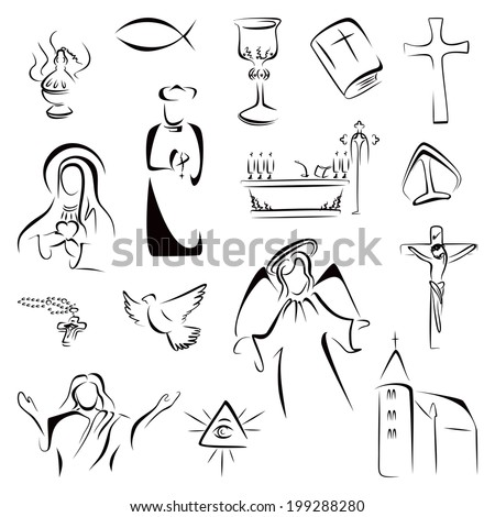 Religion symbols - stock vector
