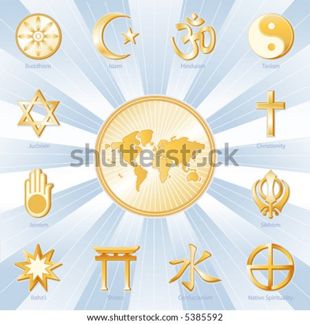 Religions, faiths of the world map: Buddhism, Islam, Hindu, Taoism, Christianity, Sikh, Native Spirituality, Confucianism, Shinto, Baha'i, Jain, Judaism. Blue gold ray background. EPS8 compatible.