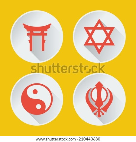 religions of the world icons flat part 2 - stock vector