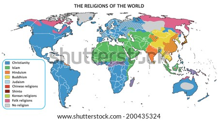 Religions of the world on map. Fully editable vector graphics. - stock vector
