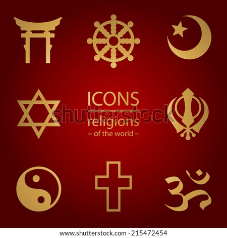 religions of the world.  Vector icons set - stock vector