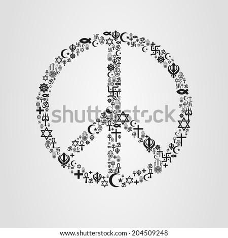 Religions Peace Shape - stock vector
