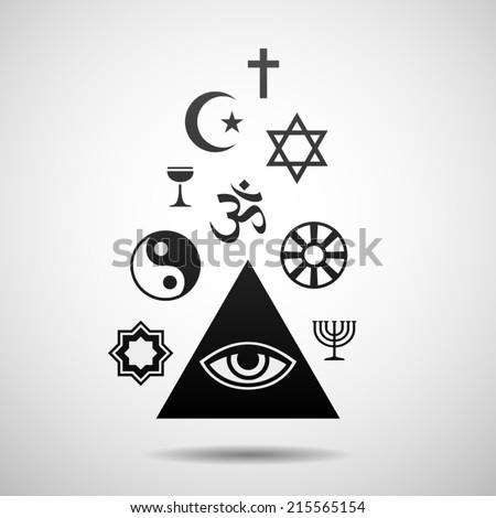 Religions symbols. Eps10 - stock vector
