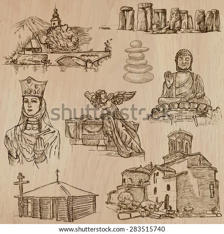 RELIGIOUS around the World (vector pack no.13). Collection of an hand drawn illustrations (original freehand sketches). Each drawing comprises few layers of lines, the colored background is isolated. - stock vector