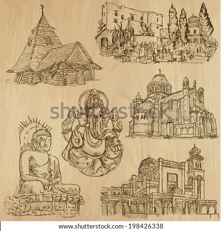 Religious around the World (vector pack no.8). Collection of an hand drawn illustrations (originals). Each drawing comprises of two layers of outlines, the colored background is isolated. - stock vector