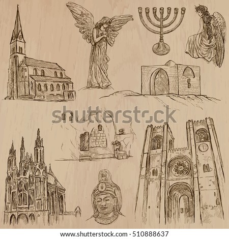 Religious around the World, Vector pack, set. RELIGION. Collection of an hand drawn illustrations. Each drawing comprises a few layers of outlines, the colored background is isolated. Hand drawing.