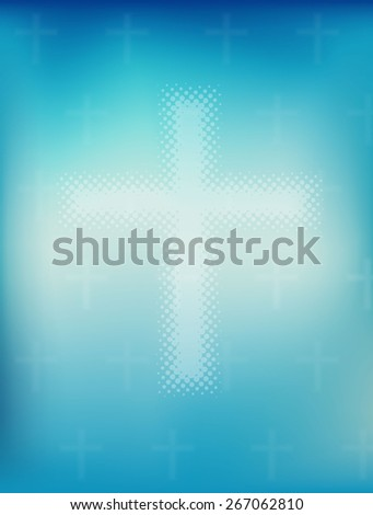 Religious  background, blurred sky with cross. Vector eps10. - stock vector