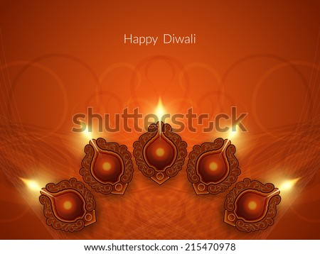 Religious card design for Diwali festival with beautiful lamps. vector illustration - stock vector