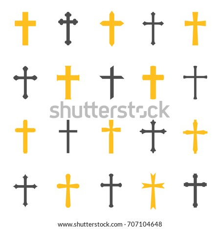 Religious cross symbol. Christianity decorative element for churches and cathedrals. Vector flat style cartoon illustration isolated on white background