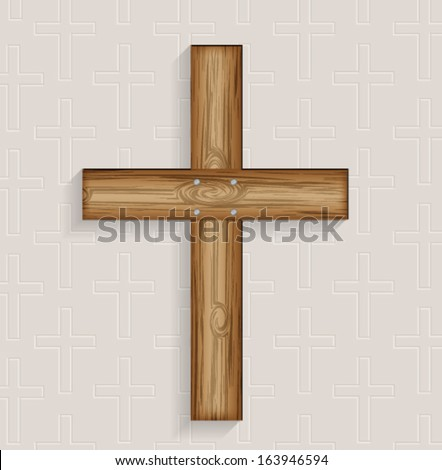 Religious 3d wooden cross background. Vector eps10.  - stock vector