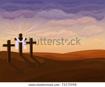 Religious Easter Card with Golgotha hills - Jesus crucifixion. Vector file saved as EPS AI8, no special effects, easy print.