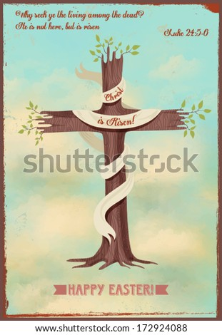 Religious Easter Poster - Vintage style religious Easter poster, with cross-shaped sprouting tree, quotation from Gospels and Easter greeting, against the bright blue sky - stock vector