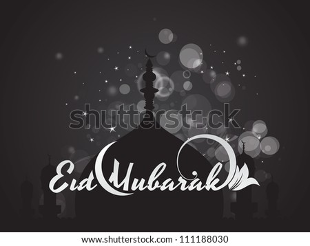 Religious eid background with Beautiful mosque. Vector illustration,Eps 10 - stock vector