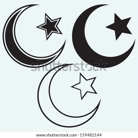 Religious Islamic Star and Crescent isolated on blue background - stock vector