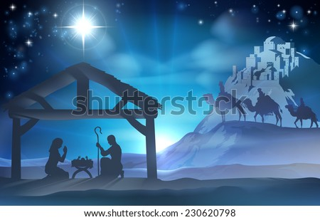 Religious Nativity Christian Christmas scene of baby Jesus in the manger with Mary and Joseph and the three wise men - stock vector