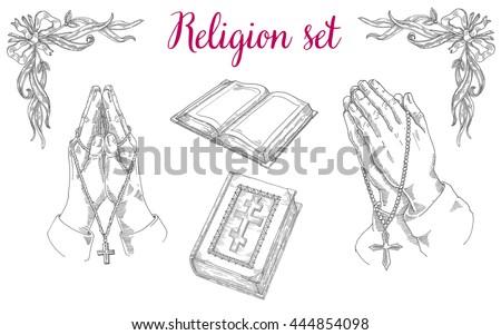 Religious set of praying hands, religious literature, the Bible, Jesus prayer - stock vector