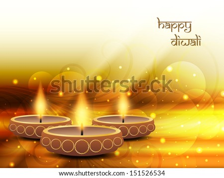 religious sparkling yellow color background design for diwali festival with beautiful lamps. vector illustrator - stock vector