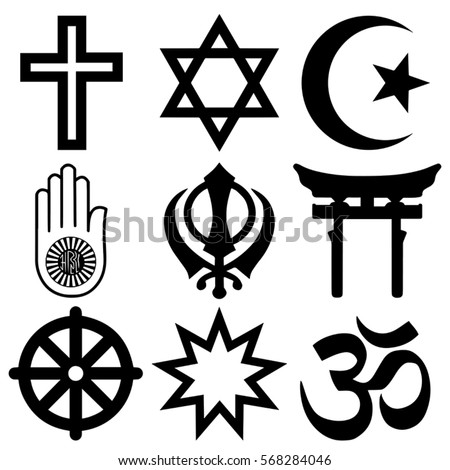 Religious Symbols Top Nine Organised Faiths Stock Vector - Top religions in the world