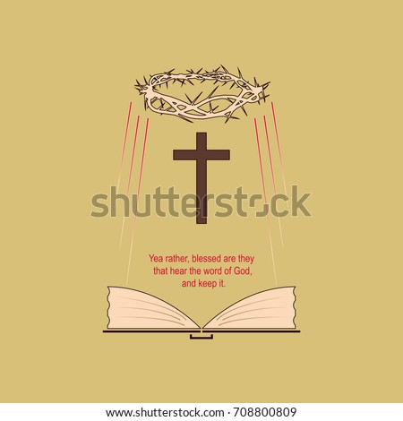 Religious Symbols Biblical Verse Vector Image Stock Vector 708800809