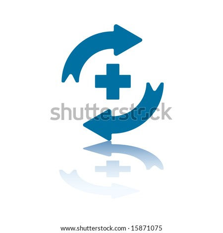 Reload/Refresh Arrows, Two Opposite Symmetrical Arrows with Plus Sign Between Them - stock vector