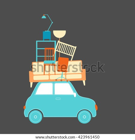 Relocation with car vector illustration - stock vector