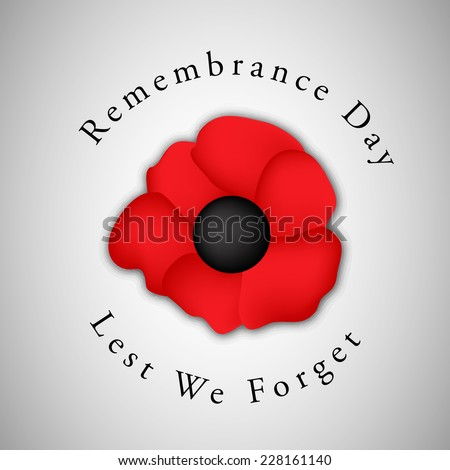 Remembrance Day Background with Illustration of Poppy Flower   - stock vector
