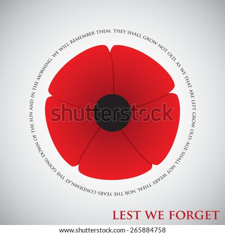 Remembrance Day card in vector format. - stock vector