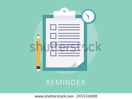 reminder concept flat icon - stock vector