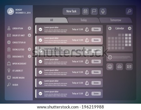 Reminder interface. Flat UI design. Vector eps 10 - stock vector