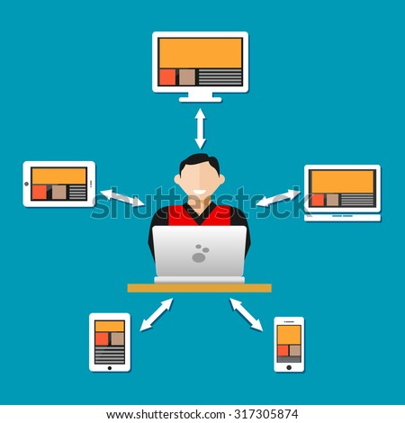 Remote access, syncing with other devices concept - stock vector