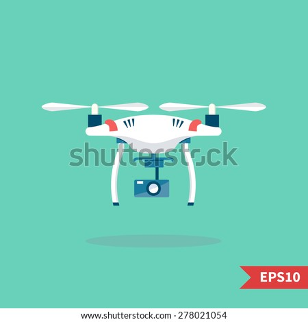 Remote aerial drone with a camera taking photography or video recording . Vector art on isolated background. Flat design. - stock vector