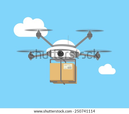 Remote air drone with a box flying in the sky. Modern delivery of the package by flying drone. Flat illustration of the express package delivery  - stock vector