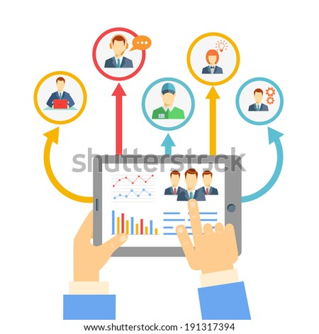 Remote business management concept with a businessman holding a tablet showing analytics and graphs connected to a diverse team of people on a conferencing video link for brainstorming and discussion - stock vector