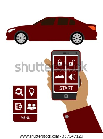 Remote car starter system. Hand holding a smart phone with remote car starter system app.  - stock vector