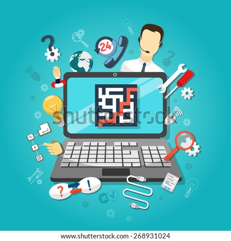 Remote computer support concept with setup cable connections questions and answers symbols vector illustration - stock vector