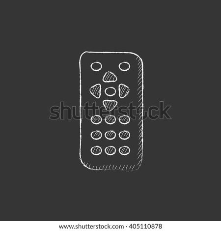Remote control. Drawn in chalk icon. - stock vector