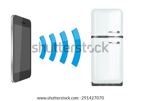 Remote control fridge or home appliances via smartphone. Vector Illustration isolated on white background. - stock vector