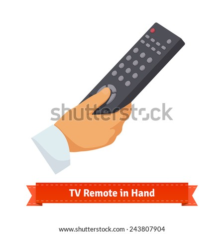Remote control in hand. Flat style illustration. - stock vector