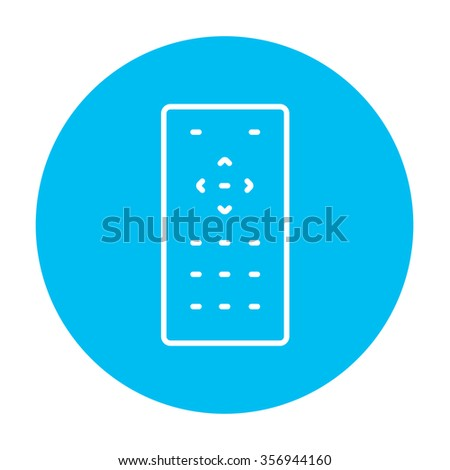Remote control line icon for web, mobile and infographics. Vector white icon on the light blue circle isolated on white background. - stock vector