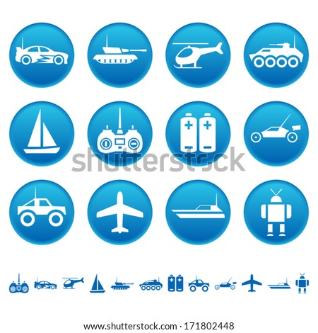 Remote control toys icons - stock vector