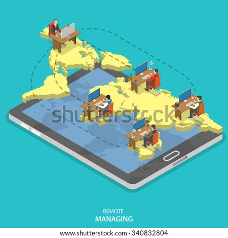 Remote managing isometric flat vector concept. Isometric model of earth continents are hovering over the tablet with manager and group of employees on it. Cloud office, outsourcing, distant work. - stock vector
