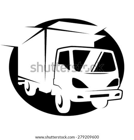 Removal truck symbol - invert - stock vector