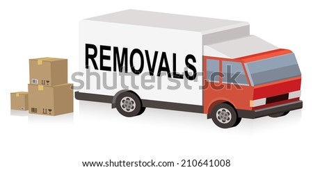 removals truck, removal van - stock vector