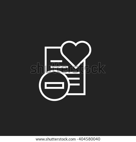 Remove from Wish List Outline Icon White on Black Background - stock vector