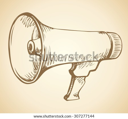 Render of power flat blower mega phone icon, isolated on white backdrop. Vector linear freehand ink drawn background sketch in art antique scrawl style pen on paper. View closeup with space for text - stock vector