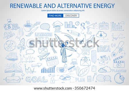 Renewable and Alternative Energy concept with Doodle design style :power savings, optimization process, eco friendly thinking. Modern style illustration for web banners, brochure and flyers. - stock vector