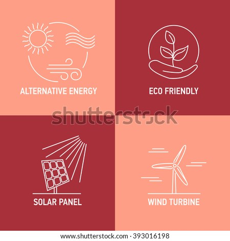 Renewable energy basic sources icons. Wind turbine, solar panel and other eco friendly alternative energy resources. Thin line signs. Vector illustration. - stock vector