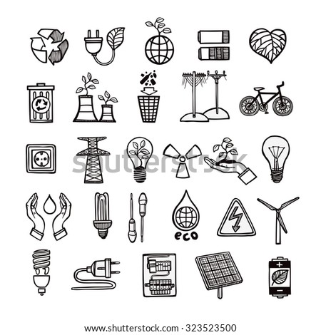 Renewable energy sources and ecology symbols with tools and electricity devices outline icon set isolated vector illustration  - stock vector