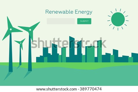 Renewable energy vector illustration. Renewable energy concept in flat style. Renewable energy web banner. Renewable energy city. Renewable energy solar and wind power  - stock vector